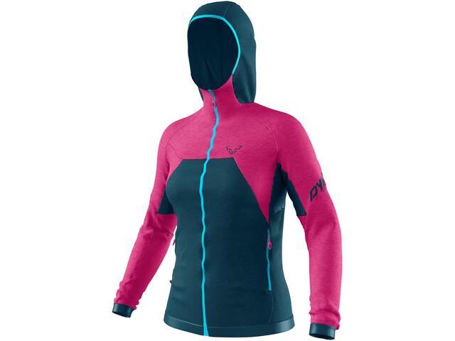 Dynafit Tour Wool Thermal Sudadera Capucha Mujer, rosa/Azul petróleo